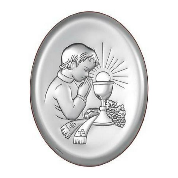 Obrazek srebrny Komunia Święta chłopiec owal