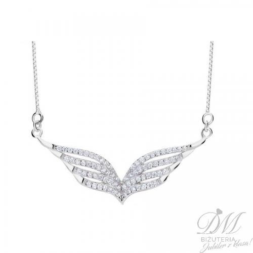 Delikatny srebrny naszyjnik - skrzydełka