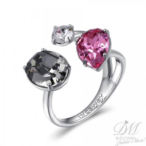 Modny pierścionek z kolorowymi kryształami