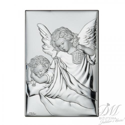 Obrazek srebrny Anioł z latarenką