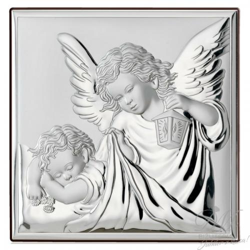 Obrazek srebrny Anioł z dzieckiem Chrzest Święty