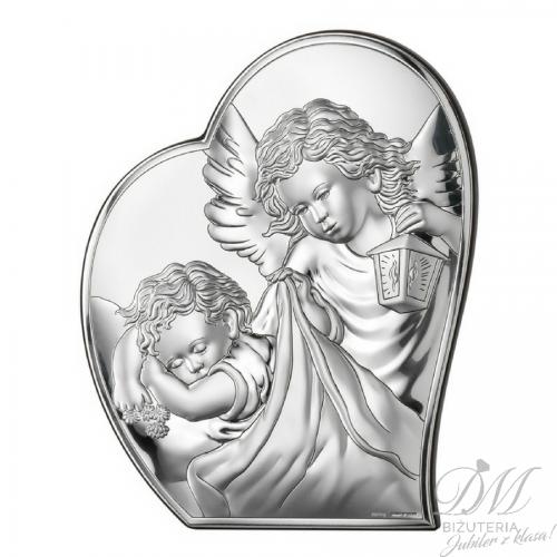 Obrazek srebrny Anioł z dzieckiem Chrzest