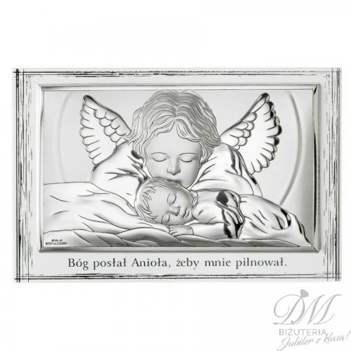 Srebrny obrazek Anioł i dziecko biała ramka