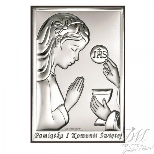 Obrazek srebrny dziewczynka Komunia Święta