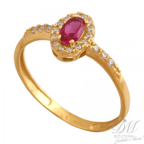 Delikatny pierścionek z rubinem
