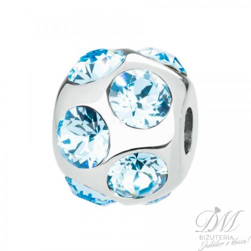 Zawieszka Charms z Kryształami Swarovski ozdobna niebieska