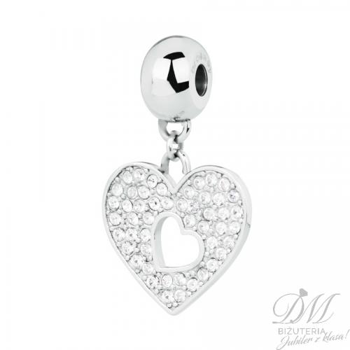 Zawieszka Charms serce z kryształami