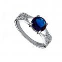 Piękny pierścionek srebrny z cyrkonią szafirową