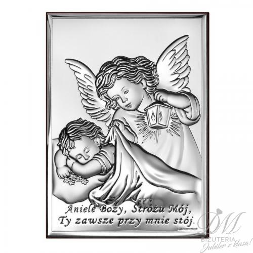 Obrazek srebrny Aniołek z modlitwą