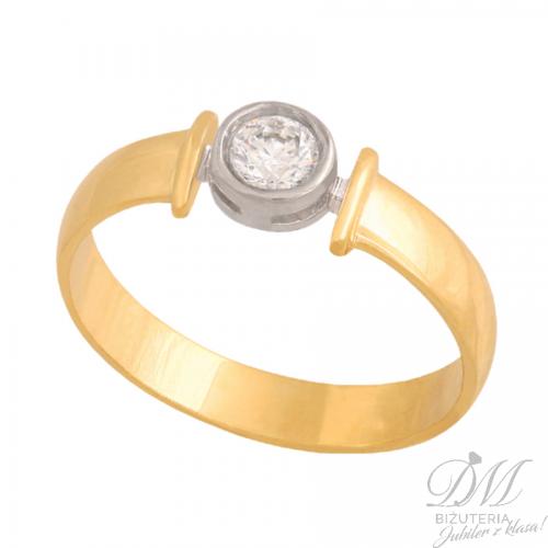 Złoty pierścionek z okazałą cyrkonią