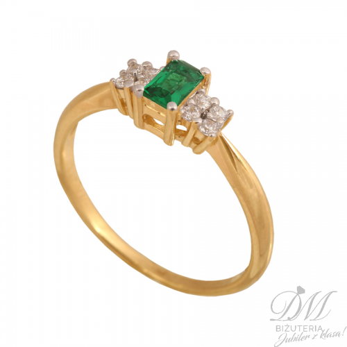 Złoty pierścionek z okazałym szmaragdem