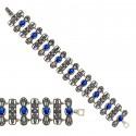 Bransoleta srebrna z markazytami i szafirowymi kamieniami