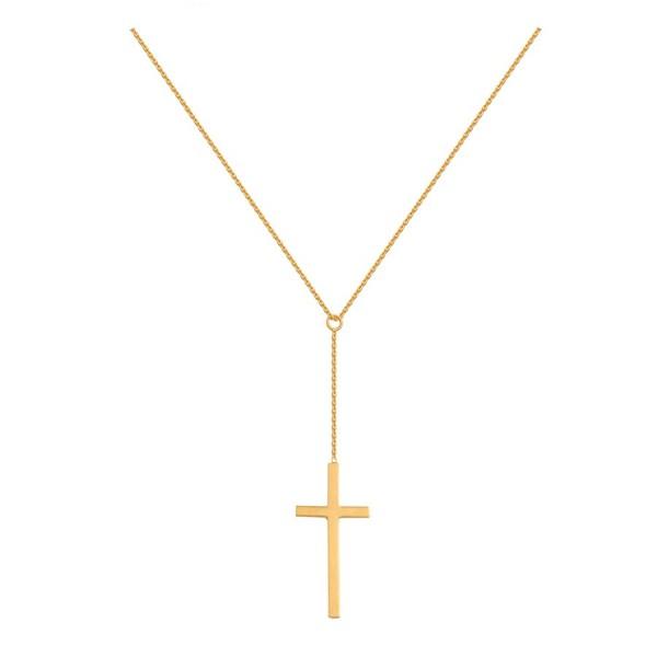 Złoty naszyjnik z krzyżykiem na długim łańcuszku