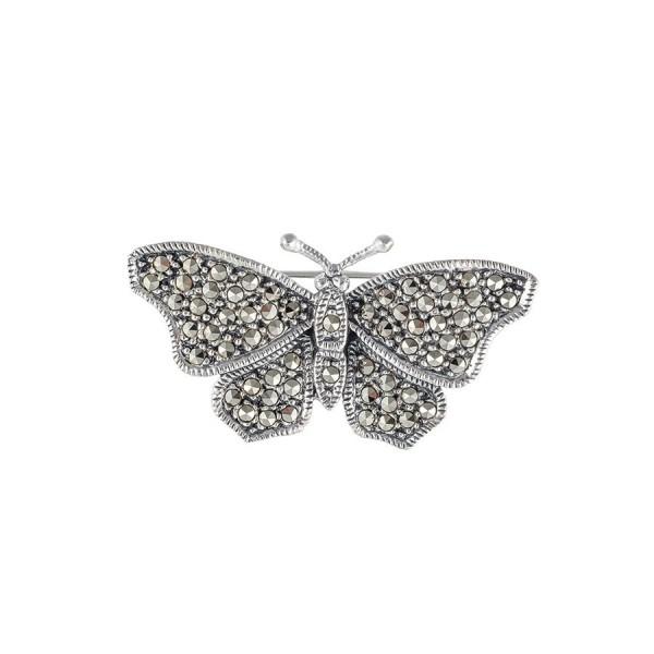 Broszka motyl z markazytami na prezent