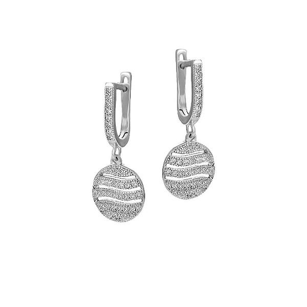 Wiszące srebrne kolczyki z cyrkoniami
