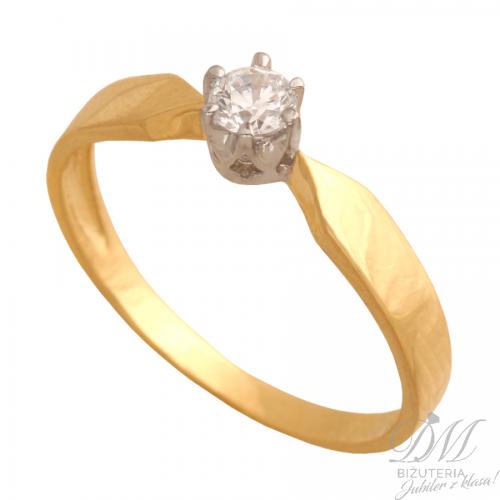 Piękny pierścionek złoty z cyrkonią zaręczyny