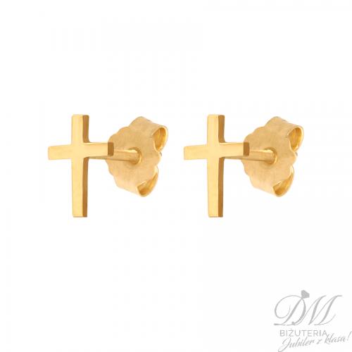 Złote kolczyki małe krzyżyki