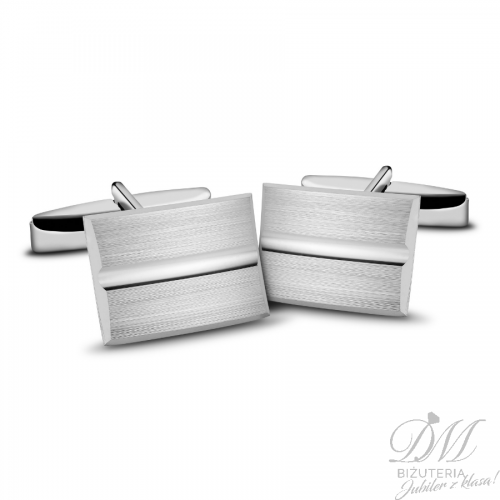 spinki do mankietów srebrne zdobione satyną