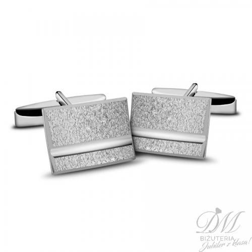 spinki do mankietów srebrne pięknie piaskowane