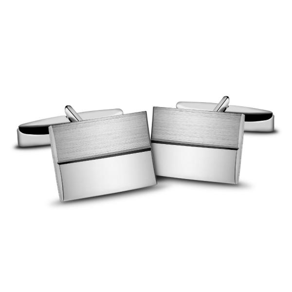 spinki do mankietów srebrne gładkie z satyną