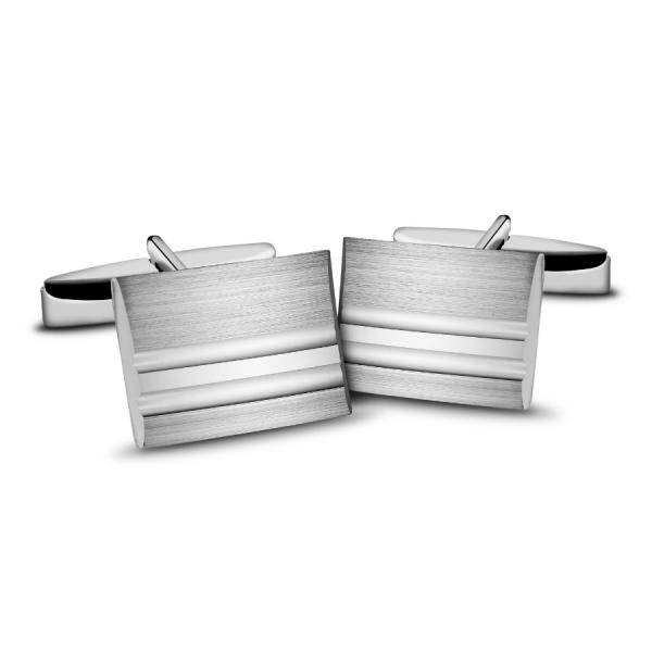 Spinki do mankietów srebrne satynowe