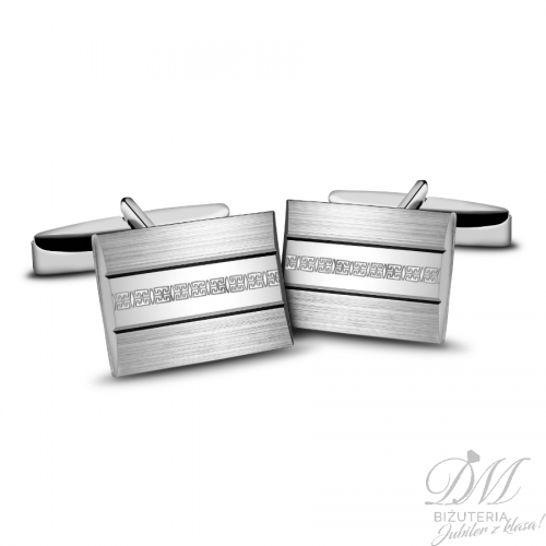 Spinki do mankietów srebrne z delikatnym zdobieniem