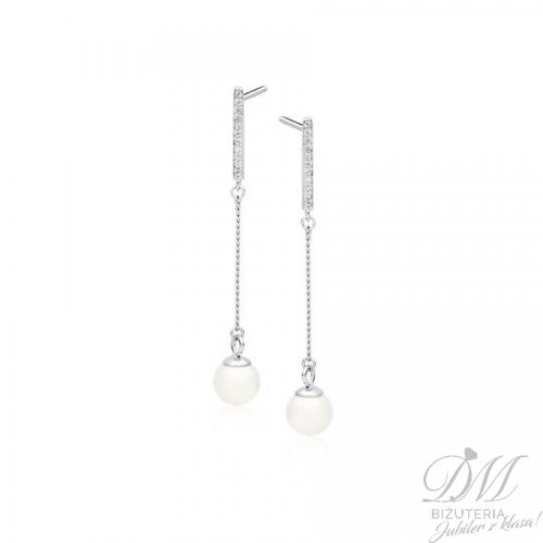 Kolczyki srebrne długie z perłą