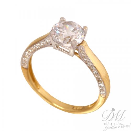 Złoty efektowny pierścionek nowość
