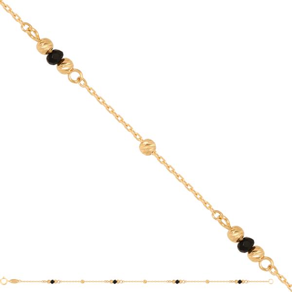 Złota bransoletka z czarną cyrkonią nowość