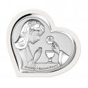 Obrazek srebrny I Komunia Święta dziewczynka serce