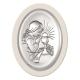 Obrazek srebrny Komunia dziewczynka biały