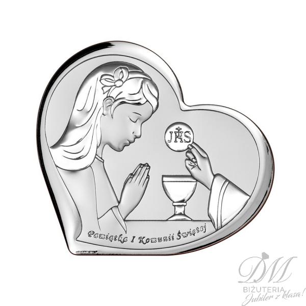 Obrazek srebrny dziewczynka serce