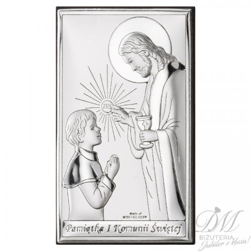 Obrazek srebrny Komunia Święta chłopiec nowość
