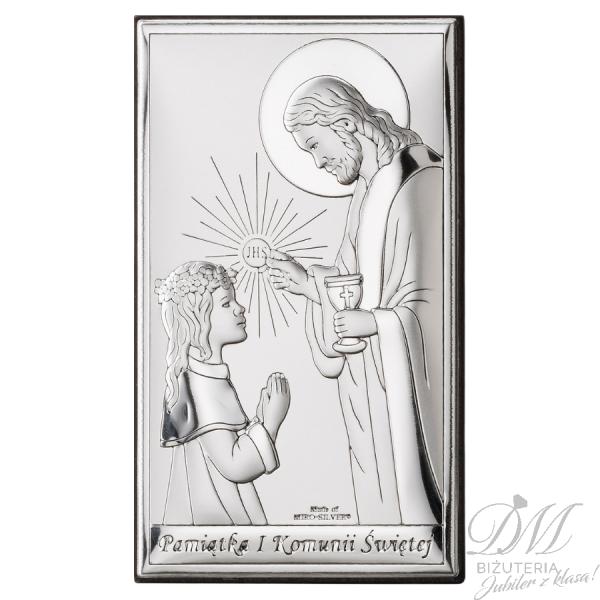 Obrazek srebrny dziewczynka z Jezusem na Komunię
