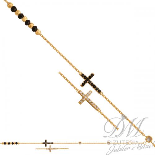 Złota bransoletka z czarną cyrkonią i krzyżykiem