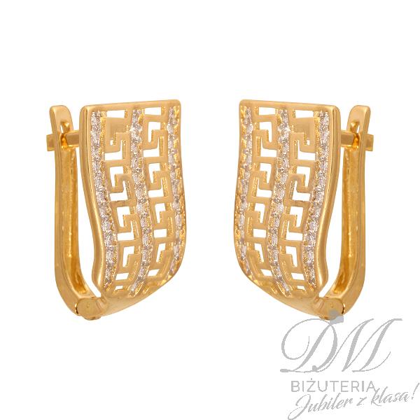 Złote kolczyki grecki wzór