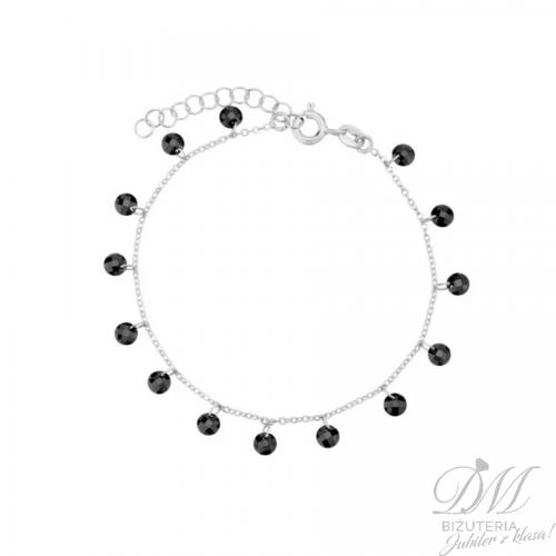 Piękna bransoleta z czarną cyrkonią