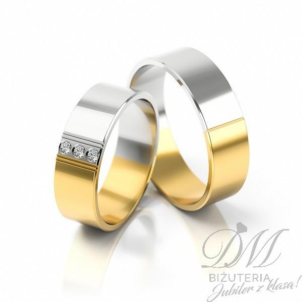 Obrączki ślubne złote dwukolorowe 6 mm