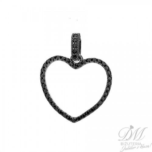 Przywieszka srebrne serce z czarną cyrkonią