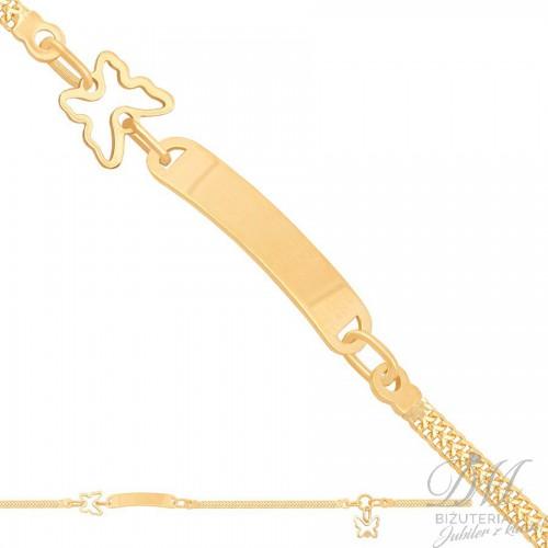 Piękna złota bransoletka z motylkiem