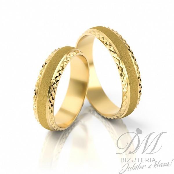 Obrączki ślubne półokrągłe diamentowane 5 mm