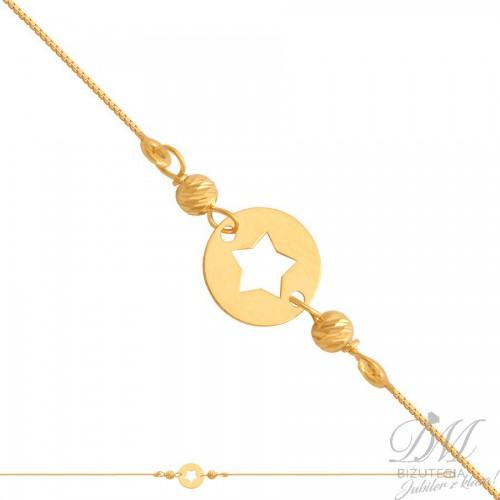 Złota bransoletka z gwiazdką i kuleczkami