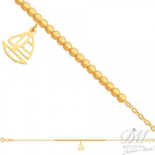 Złota bransoletka z kuleczkami i łódeczką