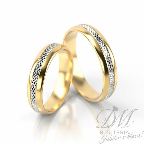 Obrączki ślubne półokrągłe z białym diamentowaniem 5 mm
