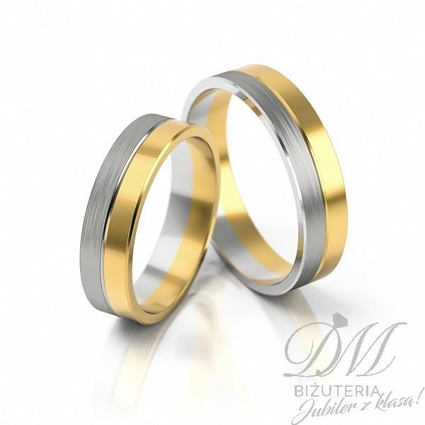 Obrączki ślubne płaskie mieszane złoto 5 mm