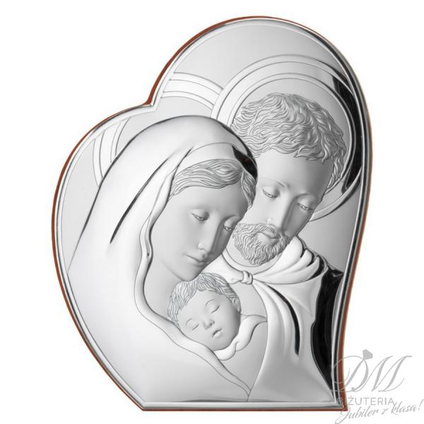 Obrazek srebrny Święta Rodzina serce
