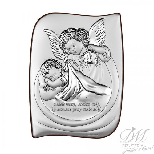 Obrazek srebrny Aniołek z dzieckiem Chrzest