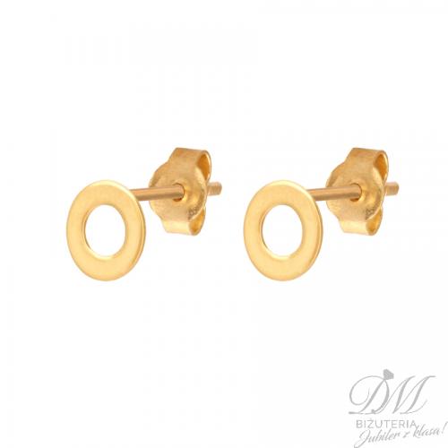 Złote kolczyki płaskie na sztyfcie
