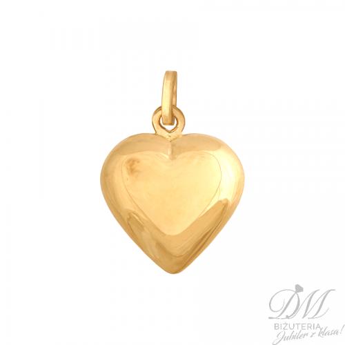 Złota przywieszka wypukłe serce