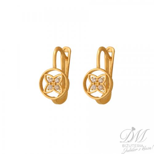 Złote kolczyki zdobione delikatnymi cyrkoniami